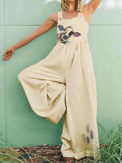 Plus Size Cotton-Blend Square Neck Animal Vintage Dresses