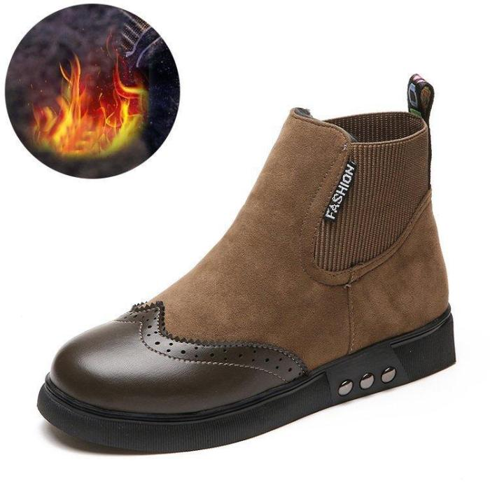 Women Artificial Leather Elastic Band Boots Vintage Suede Booties