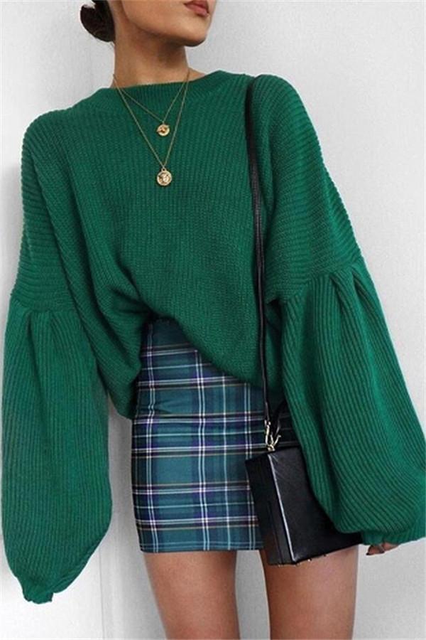 Fashion Round Collar Long Sleeve Loose Comfortable Sweater