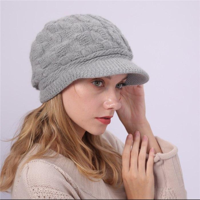 Winter Women's Knitted Hat Peaked Caps Beanie Hat Ladies Warm Slouchy Cap Crochet Ski Beanie Hat Female Baggy Skullies Beanies