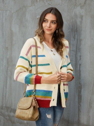 Beige Long Sleeve V Neck Sweater