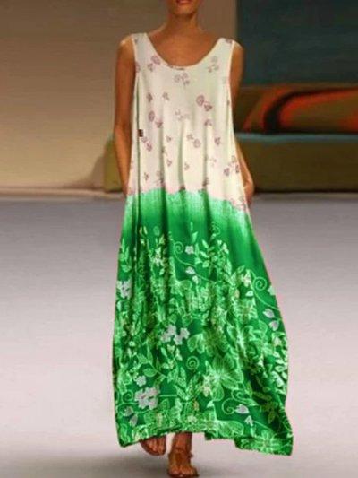 Round Neck Sleeveless Patchwork Dresses