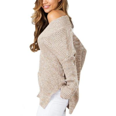 2020 Spring and Autumn New Front Short Long Back Split V-neck Pullover Knitting Shirt Casual Fashion Student Sweater Female