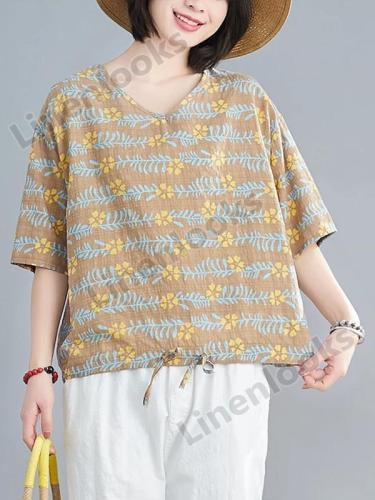 Womens Tops Blouses Summer Fashion Print Cotton Short Sleeve Loose Shirt