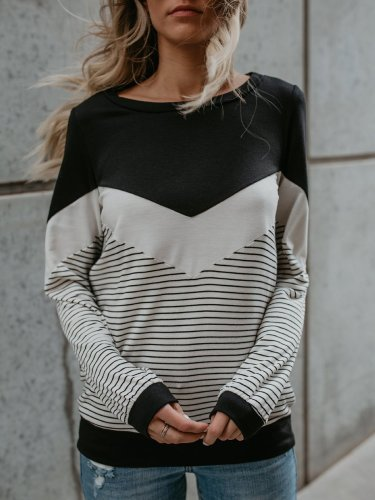 Polyester Casual Patchwork T-Shirt