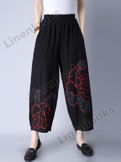 Loose Trousers Woman Elastic Waist Retro Embroidery Vintage Wide Leg Pants