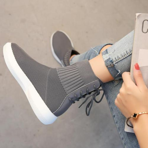 Women Back Lace-up Spring/Fall Daily Platform Flyknit Fabric Boots
