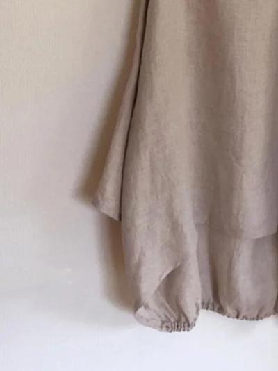 Khaki Long Sleeve Linen Shirts & Tops