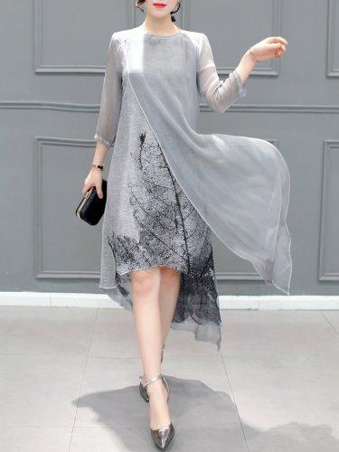 Gray Asymmetrical Printed Casual Dress