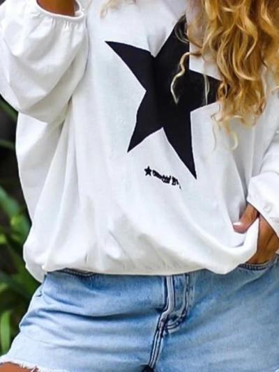 White Round Neck Casual Long Sleeve Tops