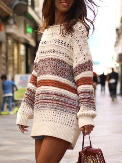 Color-Block Striped Hollowed Casual Sweaters
