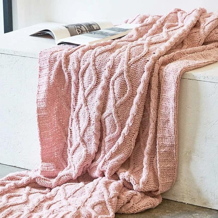 Solid Crochet Knit Blankets