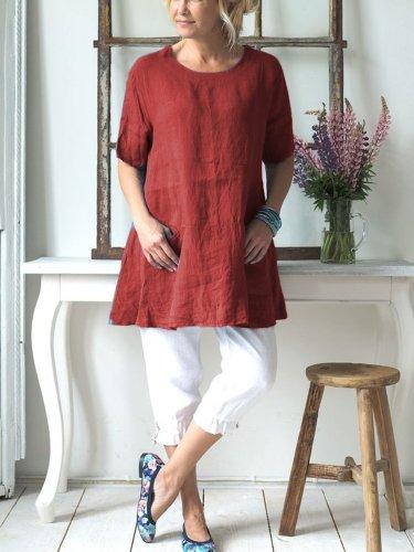 Women Linen Causal Tops Solid Crew Neck Short Sleeve Simple Blouse