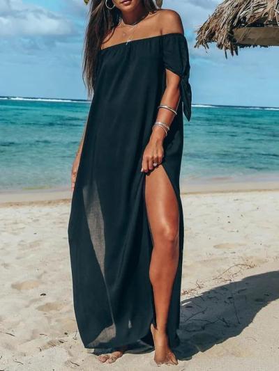 Cotton Short Sleeve Holiday Off Shoulder Maxi Dresses
