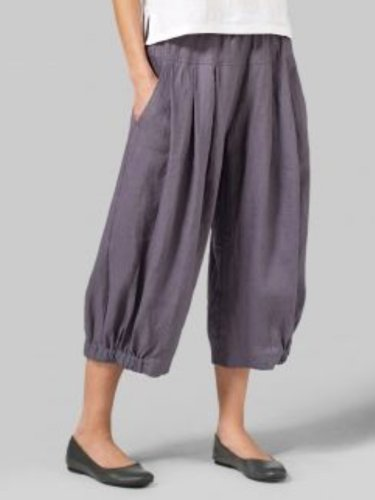 Purple Casual Plain Linen Pants