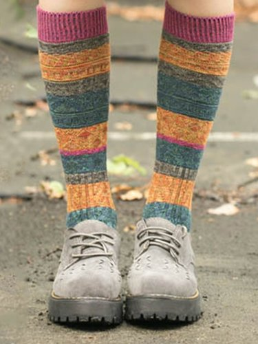 Vintage Tribal Printed Breathable Casual Cotton Warm Socks