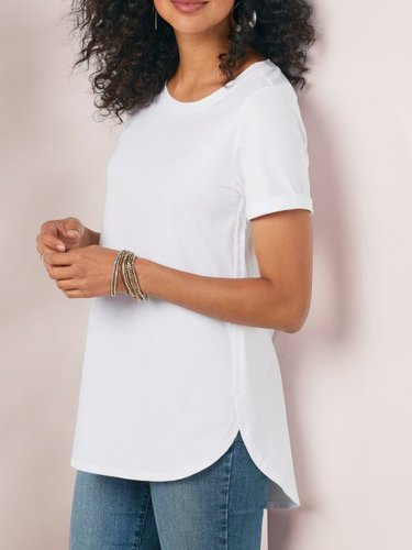 Casual Cotton Crew Neck Plain Shirts & Tops