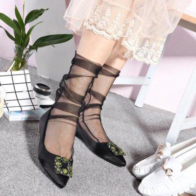 Handmade Fashion Tulle Net Yarn Shiny Socks