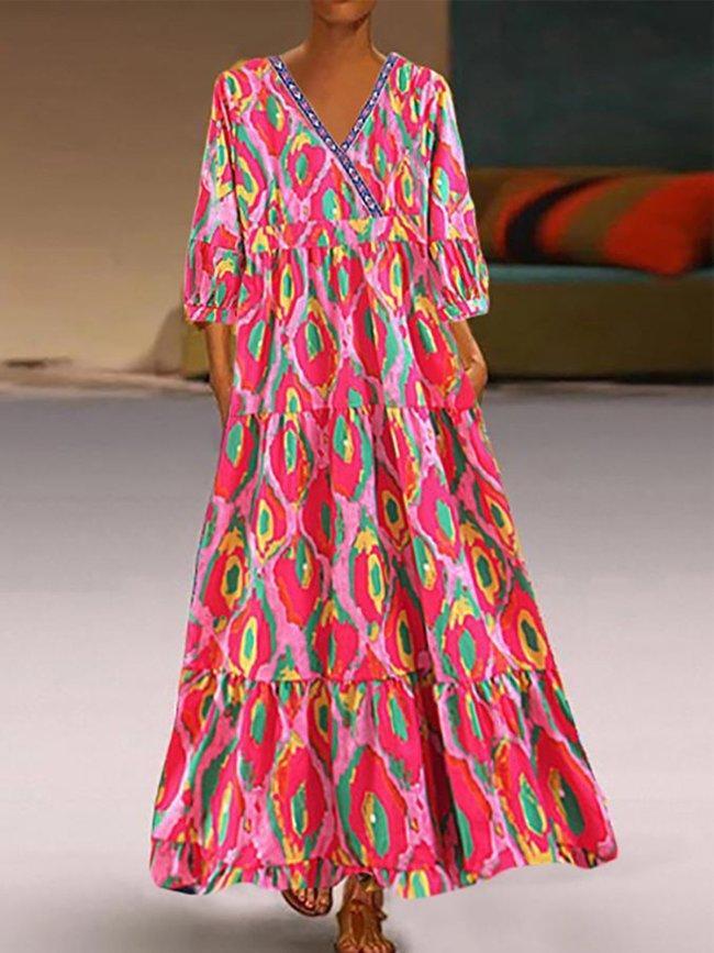 V Neck Printed Half Sleeve Holiday Dresses