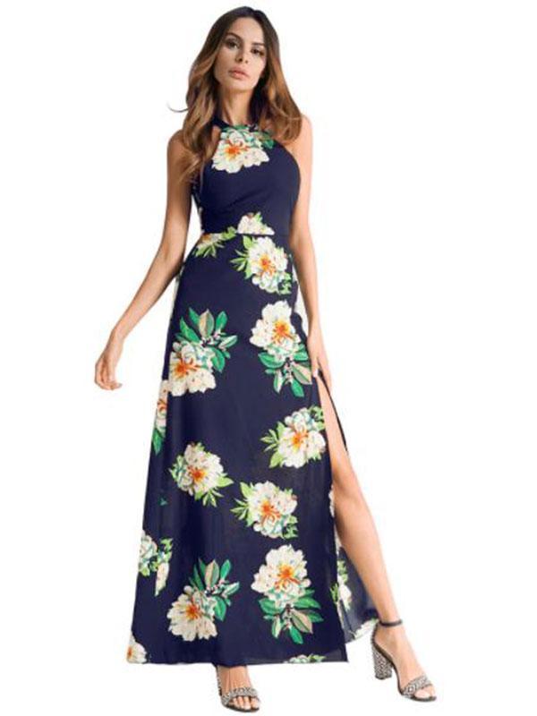 Women's Long Dress Sleeveless Chiffon Dress
