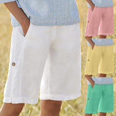 Solid Buttons Cotton Linen Pockets Casual Vintage Short Pants Women Casual Pants Summer Sports Leggings