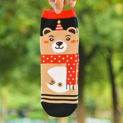 Christmas Socks 1pc Warm Santa Snowman Elk Bear Pattern Cute Ladies Socks