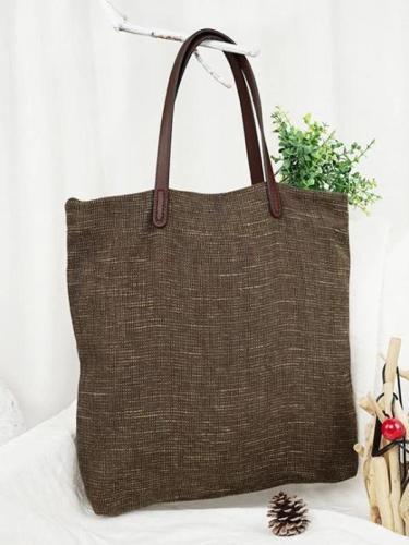4 Colors Simple Literature Linen Shoulder Bag