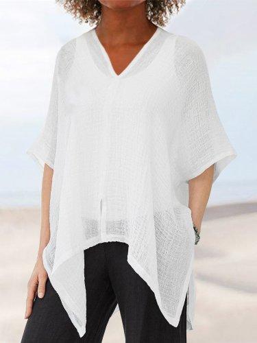 3/4 Sleeve Cotton-Blend Holiday V Neck Shirts & Tops