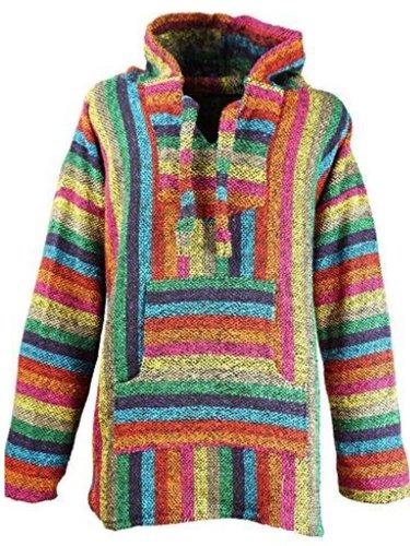 Multicolor Cotton-Blend Casual Striped Outerwear