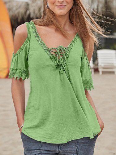 Off Shoulder Short Sleeves Lace Up Casual Blouse
