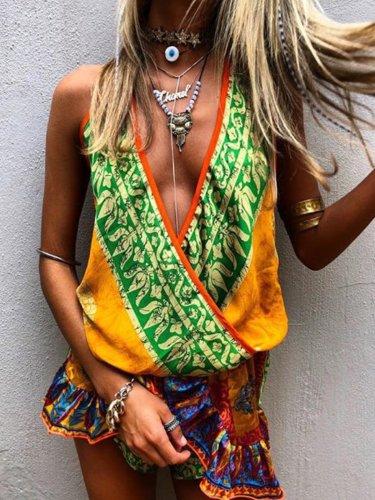 Boho Multicolor Printed Casual Jumpsuit