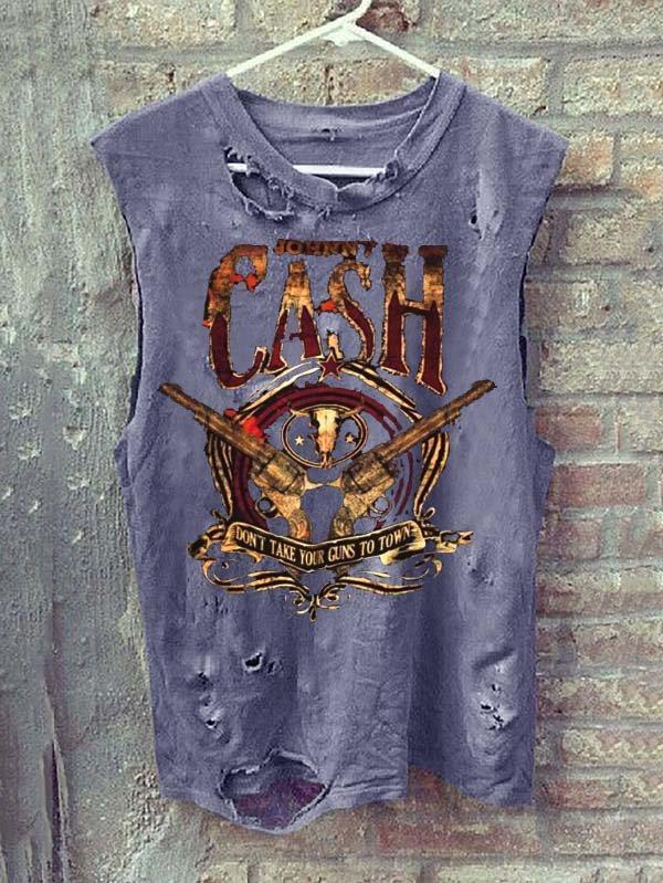 Hole T-shirt  Crew Neck Casual Sleeveless Shirts