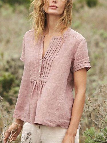 Cotton-Blend Short Sleeve Buttoned V Neck Shirts & Tops
