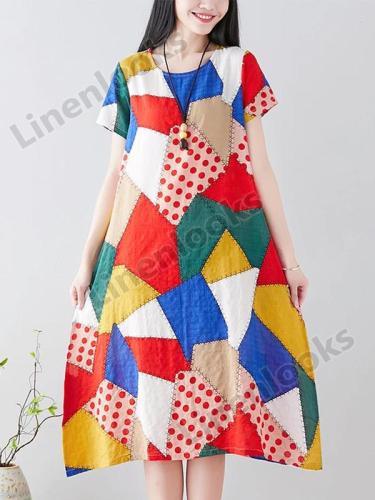 Geometric Print Women Plus Size Cotton Linen Printed O-neck Short-sleeved A-Line Dress