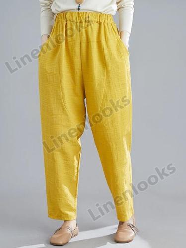 Women's Trousers Hemp Cotton Pant Loose Trousers
