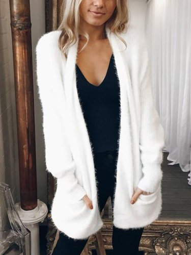 Mid-Length Cardigan Solid Color Plush Coat   Outwear