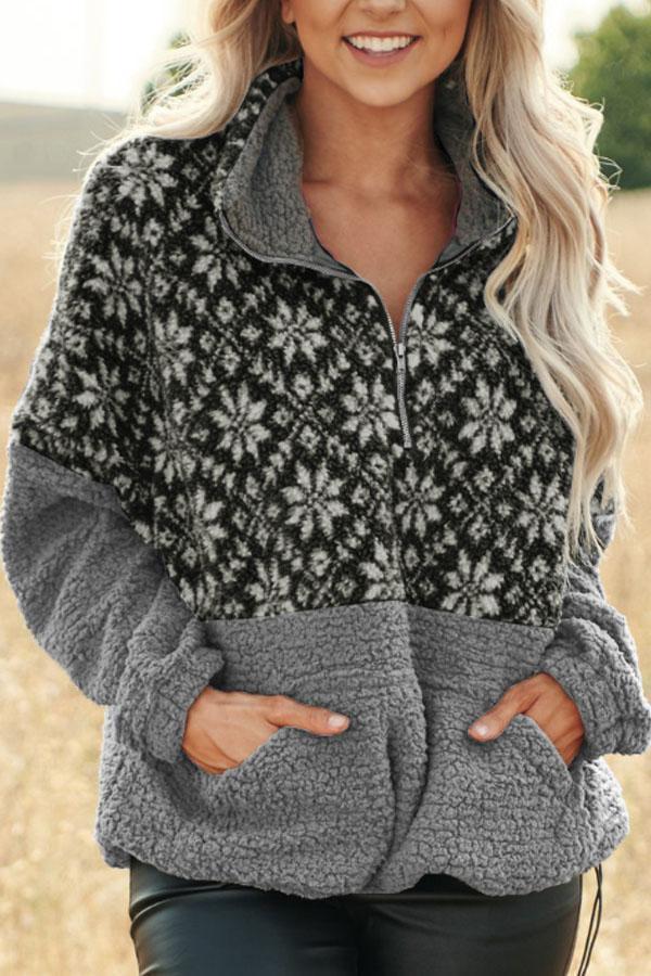 Christmas Snowflake Pullover Bend Collar Zipper Print Teddy Outerwear