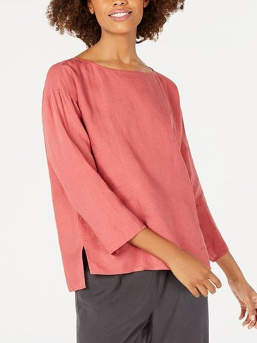 Plus Size Casual Solid 3/4 Sleeve Tops