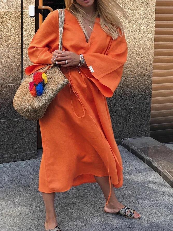 Plus Size Maxi Dress Solid Long Sleeve Dresses