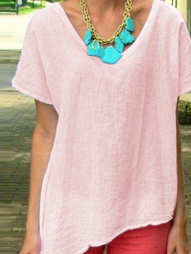 Plain V Neck Casual Short Sleeve Shirts & Tops