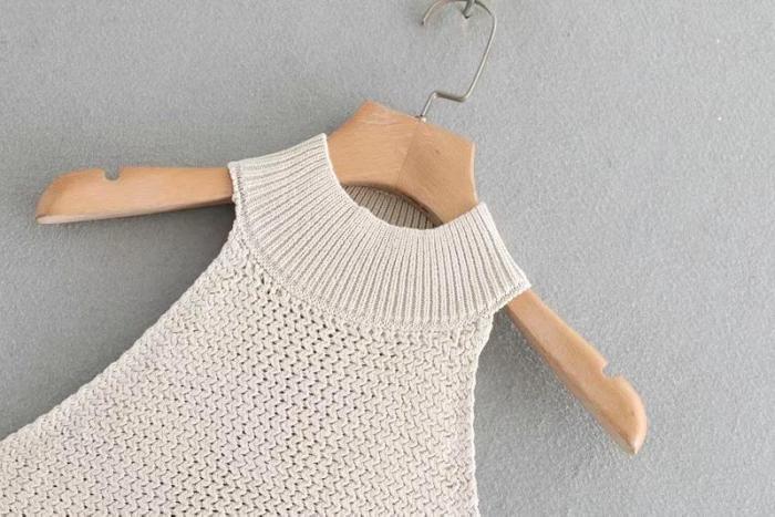 Women's Sleeveless Tops Knitted High Street Popular Tank