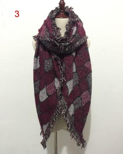New Fashion Scarves for Women Female Mermaid Knitted Wool Cashmere Plaid Scarf Silvery Silk Thread Warm and Soft Shawl