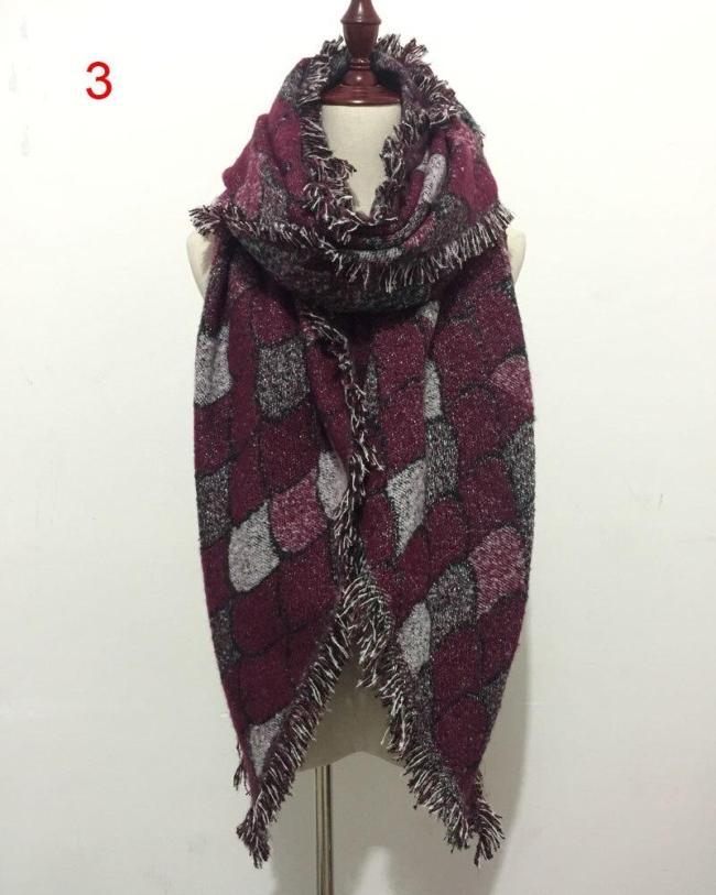 New Fashion Scarves for Women Female Mermaid Knitted Wool Cashmere Plaid Scarf Silvery Silk Thread Warm and Soft Shawl