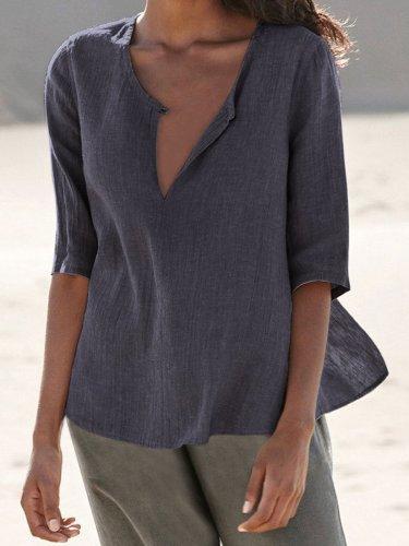Casual Half Sleeve Solid Shirts & Tops