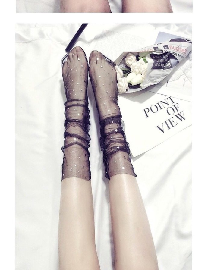 Sequined Gauze Socks Women Mesh Star Stocking