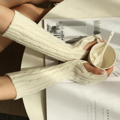 Fashion Long Gloves Autumn Winter Knit Arm Warmer Women