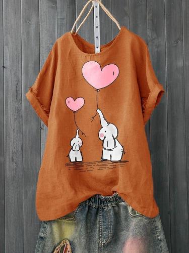 Crew Neck Casual Cotton Elephant Love Print Shirts & Tops