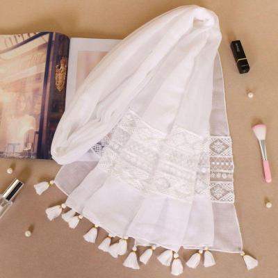 Women Fashion Plain Lace Floral Patchwork Viscose Shawl Scarf Luxury
