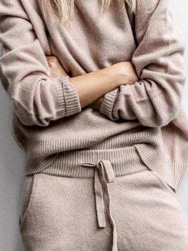 Women's Casual Round Neck Solid Long Sleeve Suits