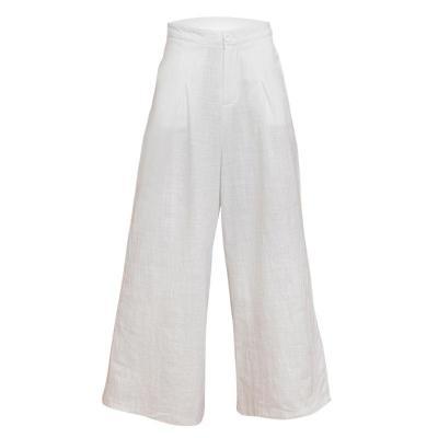 Summer Cotton Linen Wide Leg Pants Vintage Trousers